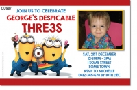 CU987 - Despicable Me Photo Birthday Invitation