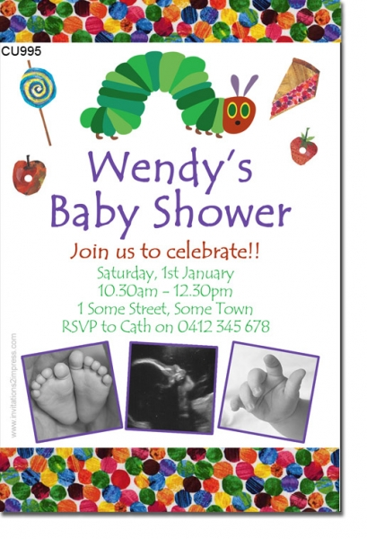 CU995 - Hungry Caterpillar Baby Shower Invitation