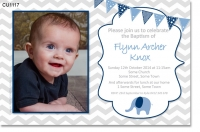 CU1117 -  Boys Chevron Baby Elephant Invitation