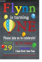 CU1151 - Hot Air Balloon Chalkboard Birthday Invitation