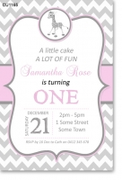 CU1165 - Pink Giraffe Chevron Birthday Invitation