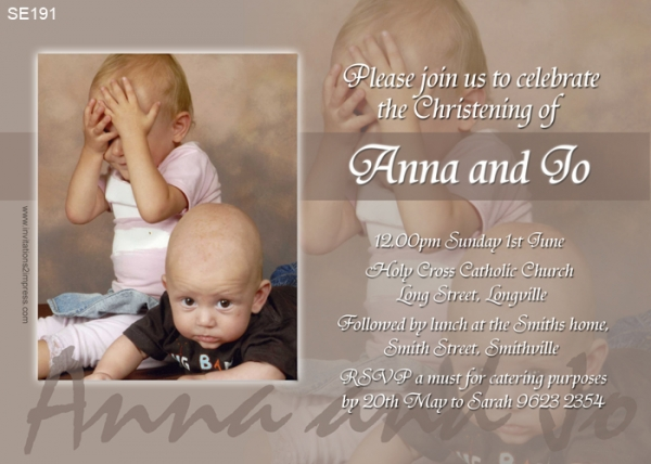 se191 joint christening invitation neutral twins joint