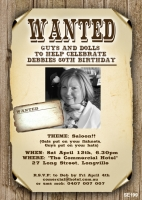 SE199 - Wanted Sign Invitation - Ladies Birthday Invitations ...