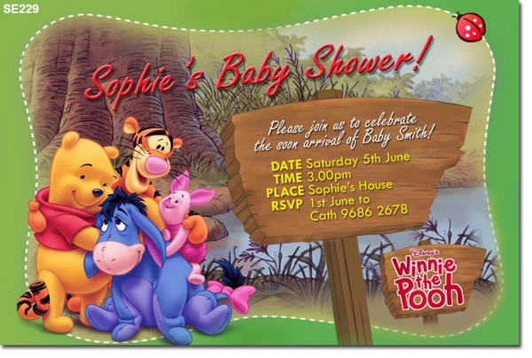 se229 - baby shower winnie the pooh - baby shower invitations, Wedding invitations