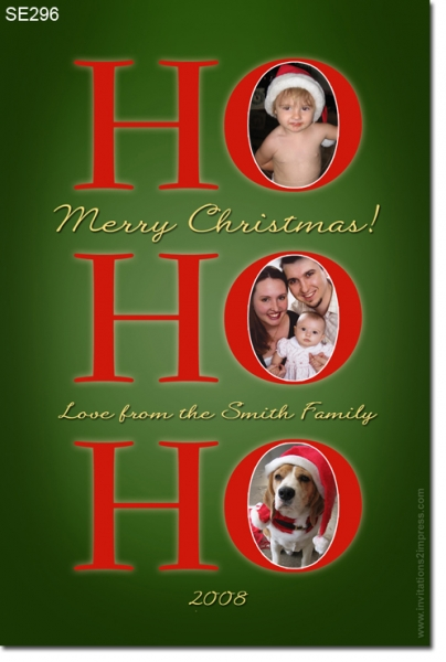 SE296 - Christmas Card - HoHoHo Green
