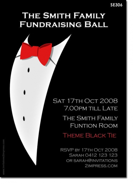 Se306 birthday adult black tie ladies birthday invitations se306 birthday adult black tie stopboris