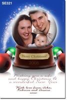 SE321 - Christmas Card - glass ball - one pic