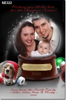 SE322 - Christmas Card - glass ball - BLACK