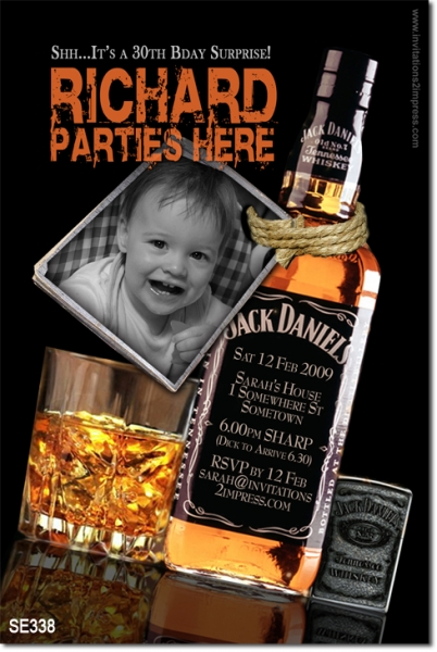Se338 Adult Birthday Jack Daniels Mens Birthday Invitations