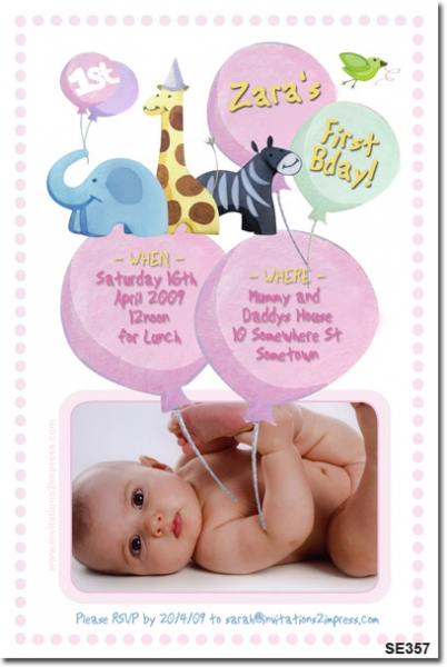 SE357 - Girls Jungle Animal Invitation