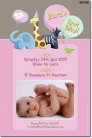 SE358 - Girls Jungle Animal Invitation Brown and Pink