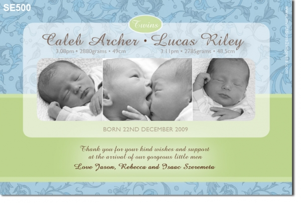 SE388 Twin Boy Birth Announcement Baby Boy Announcement Baby – Baby Boy Birth Announcements Templates